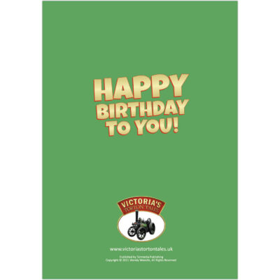 Happy Birthday - Victoria and her friends in the fields greetings card back