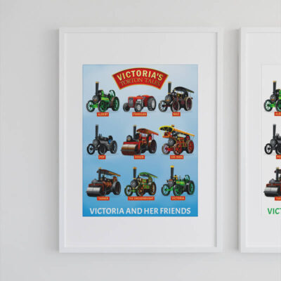 A3 Victoria and Her Friends Steam Clouds Poster Framed Mock-up