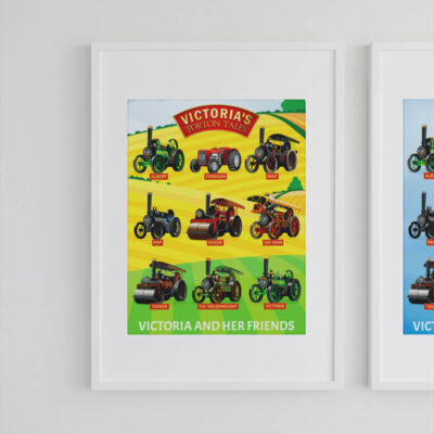 A3 Victoria and Her Friends in The Fields Poster Framed Mock-up